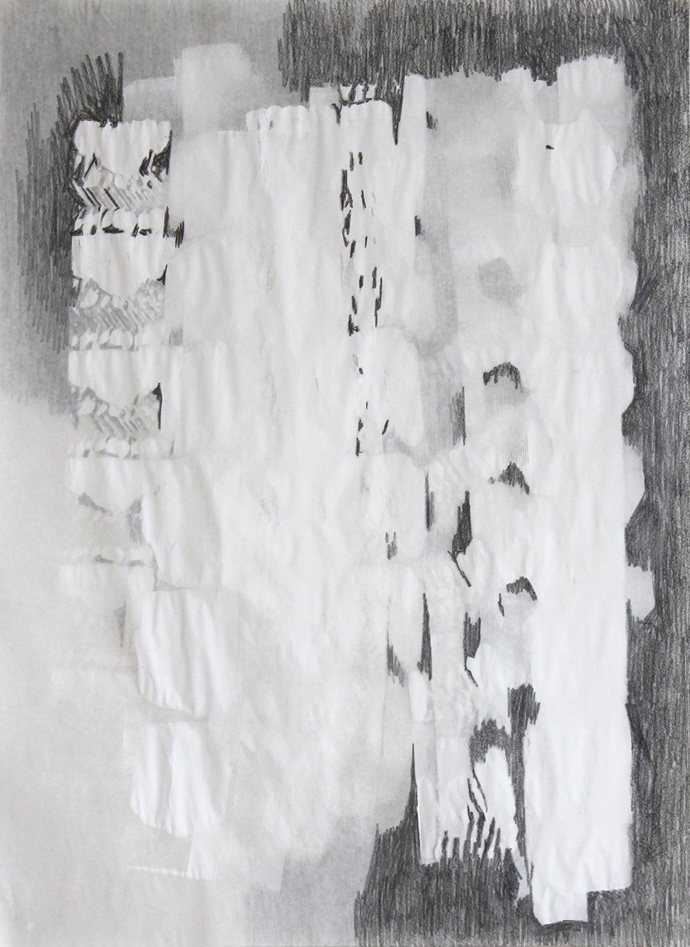 Carolina Koster / Where the light comes in_01 / Ink and graphite on both front and back of semi-transparant paper